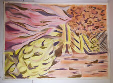 """30"""" Vintage Abstract Painting on Paper Pink Yellow Storm Clouds Jeannine Shaner"""
