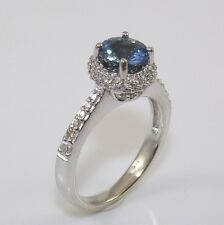 14K White Gold Blue Sapphire 0.50ctw Natural Diamond Halo Ring Size 5.75  ZD