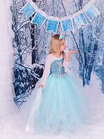 XMAS! Frozen Princess Dress Anna Elsa Queen Girls Cosplay Costume Party Dresses+