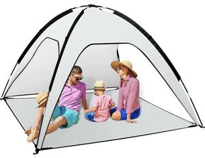 Up To 4 Person Portable Beach Tent Sun Shelter Grey And White