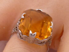 Victorian Filigree Citrine Ring 14K White Gold Antique Edwardian Handcrafted