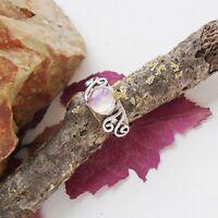 Mondstein rosé modern vergoldet Design Ring, Ø 18,0 mm, 925 Sterling Silber neu