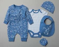 Baby Boys Organic Cotton Blue Elephants Romper Bodysuit Hat Mitts & Bib Outfit