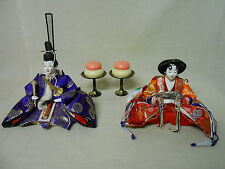 #84 Japanese VTG HINA Doll ODAIRI-SAMA & OHINA-SAMA Emperor & Empress w/ Cake