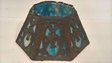 Oil Lamp Shade Slag Glass Blue Victorian Detailed Nice Heavy Piece Octagonal