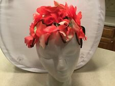 Ladies Vintage Hat Flower Petals all over w/ Green Leaves Red and White Petals