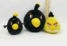 Angry Birds Lot 3 Birds - 2 Black, 1 Yellow Plush EUC