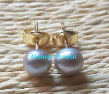 Elegant AAA+ 6-7mm natural south sea grey pearl earrings 14k Yellow Gold