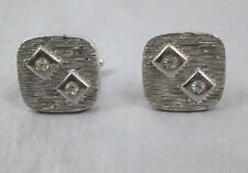 Vintage cufflinks modernist square silver-tone metal with rhinestones