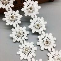 1yd Flower Crystal Pearl Lace Edge Trim Wedding Ribbon Applique Sewing DIY Craft