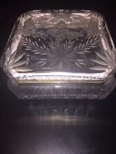 Vintage Crystal Cut Glass Engraved Floral Daisy Hinged Trinket Jewelry Powder Dresser Box With Silver Toned Metal Trim