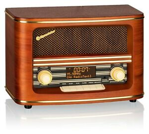 Roadstar HRA-1500D+ Vintage Retro Design DAB+/UKW Radio, 20 Senderspeicher