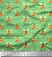 Soimoi Green Cotton Poplin Fabric Animal,Gift Box & Warm And Cozy-ykE