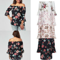 Plus Size Women Floral Print Lace Off Shoulder Flare Sleeve T-Shirt Tops Blouse