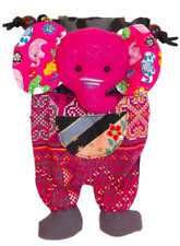 Elephant, Childrens Shoulder purse, fabric, Pink 13 x 23cm - Ethical Trade