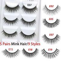 5Pairs 3D Mink False Eyelashes Wispy Cross Long Thick Soft Fake Eye Lashes