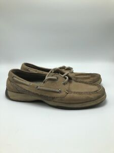 Sperry Top Sider Brown Leather Boat Deck Shoes Mens Sz 6.5 M DISTRESSED