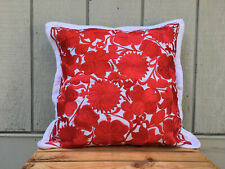 "Handmade Floral Embroidered Mexican Pillow Cover - 19""x19"" - Red & White"
