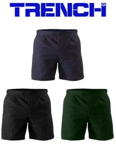 Cotton Drill  Side Tab Shorts - Navy or Black or Bottle Green