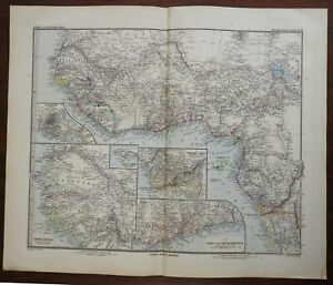 West Africa Guinea Cameroon Senegal Gambia Benin 1899 Luddecke detailed map