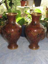 """Pair Brass Cloisonne Enamel Chinese Brown Maroon Vintage Vase Urn 8"""" Tall Zi Jin"""