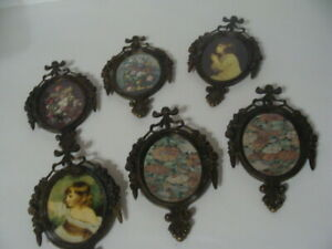 6 Vintage Metal Oval Ornate Picture Frame Made In Italy
