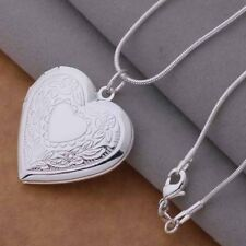 Silver Plated Opening Heart Locket Necklace & Pendant 18 inch 46cm.925 Sterling