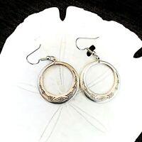 Navajo Sterling Silver Concho Native American Hook Drop Dangle Hoop Earrings