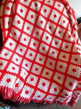 "Home Decor Afghan&Throws NNU Red White Knitted Handcrafted 74"" x 72"" Fringes New"