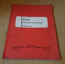 Ransomes GF 205 multivac grain drier parts list