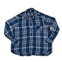 Woolrich Women's XXL 2XL Flannel Plaid Button Down Long Sleeve Shirt Top Blue