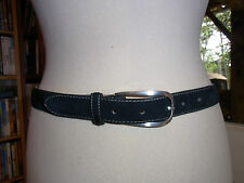 "CEINTURE 01 VINTAGE 80 FEMME ""NEW MAN"" CUIRT75 / LADY BLACK LEATHER BELT VTGE 80"