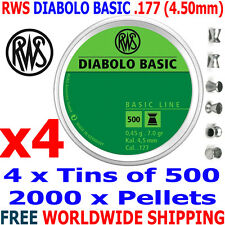RWS DIABOLO BASIC .177 4.50mm Airgun Pellets 4 (tins)x500pcs (TRAINING) 0,45g