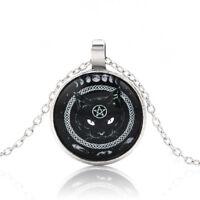 Vintage Black Cat Pentagram Photo Cabochon Glass Pendant Chain Necklace Jewelry