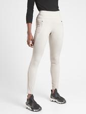ATHLETA Peak Hybrid Fleece Tight Leggings XL in Birch Grey | Lined Hiking Pants