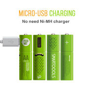 AA Rechargeable Battery Smartoools Micro-USB NIMH Pre-Charged Batteries 4pcs