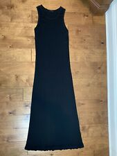 Ann Demeulemeester Long Black Rayon Modal Tank Dress sz FR 42 US 10