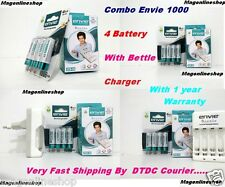 ENVIE 1000mAh Ni-MH AA Battery 4pcs + Beetle Charger + 1 Year Warranty Branded