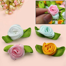 100pcs Beautiful Satin Ribbon Sewing Flower Roses Buds With Green Leaves 4 Color