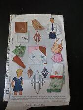 Vintage Simplicity Pattern 3261 Blue Transfer Monograms Used