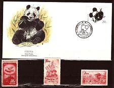 343  CHINE  1 carte maximum FDC PANDA  et 3 timbres neufs de1952.