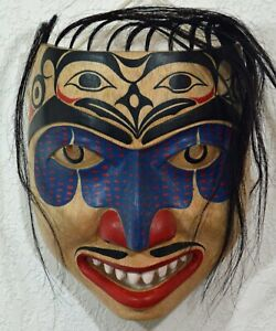 FIRST NATION STYLE TOTEMIC WARRIOR MASK ~ CANADIAN ABORIGINAL STYLE