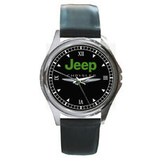NEW JEEP CHRYSLER Custom Round Metal Leather Men's Gift Watch Wrist Watches