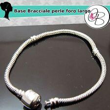 Base bracciale per perle foro largo tono platino 18,5 cm