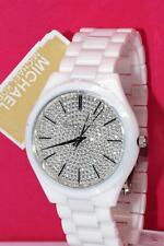 NEW Michael Kors Women's Slim Runway White CERAMIC Bracelet Watch 42mm MK3448