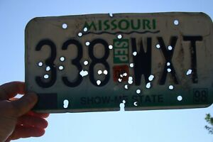 1998 Missouri License Plate Ratrod car Mancave Gun Deco Old Bar 42 Bullet Holes