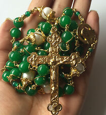 XL Gold Green Jade Beads & AAA10MM Real Pearl rosary cross NECKLACE CATHOLIC