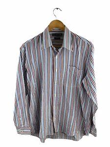 Fletcher Jones Men's Button Shirt Size M Blue Striped Long Sleeve Collared