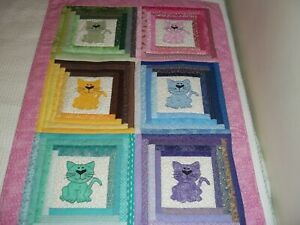 NEW HANDMADE BABY GIRL QUILT CRIB BLANKET KITTENS CATS PINK  APPLIQUED PATCHWORK
