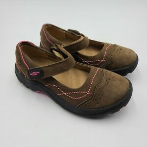 KEEN Youth Girl Sz 3 Libby Mary Jane Brown Nubuck Leather Shoe Brown Pink $129